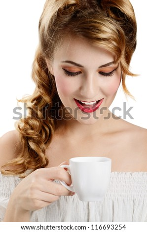 Woman with coffee cup over white background - stock photo
