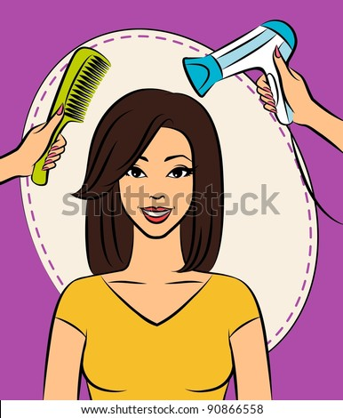 Woman with coiffure in a beauty salon. - stock photo