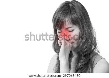 woman with cold or flu, running nose, white isolated background - stock photo