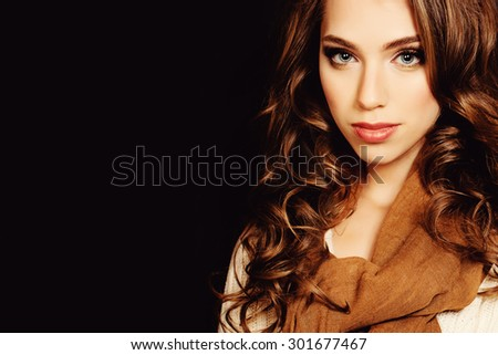Woman with Coloring Curly Hair. Beautiful Girl Wearing Scarf. Fashion Hairstyle and Make up