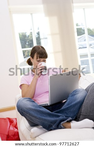 Woman with computer in the sofa