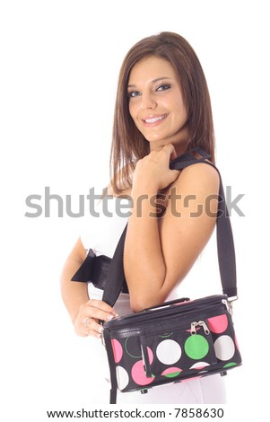 woman with cosmetics tote bag - stock photo