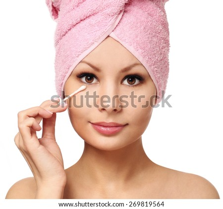 Woman with cotton swab , isolated. Skincare. Beautiful girl after bath. Spa  - stock photo