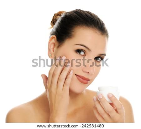 woman with cream - stock photo