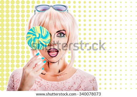 Woman with creative makeup in the style of pop art holding lollipop. Woman hides her face behind a lollipop. Pop art backdrop. The concept of the sweet life. Retro fashion. Vintage postcard. Candies.