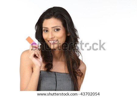 Woman  with credit card - stock photo