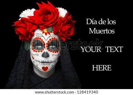 Woman with dia de los muertos makeup, black empty space - stock photo