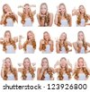 woman with different facial expressions and gestures or signs - stock photo