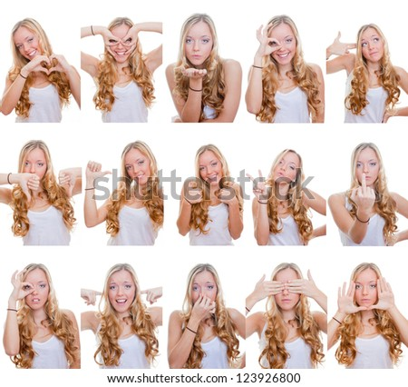 woman with different facial expressions and gestures or signs