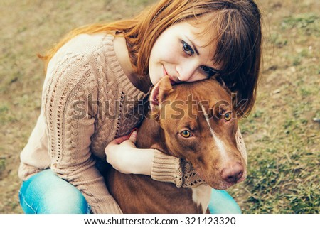 Woman with dog nature summer park  - stock photo