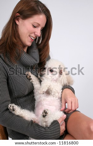 woman with dog pet