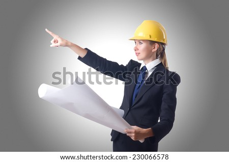 Woman with drawings isolated on white - stock photo