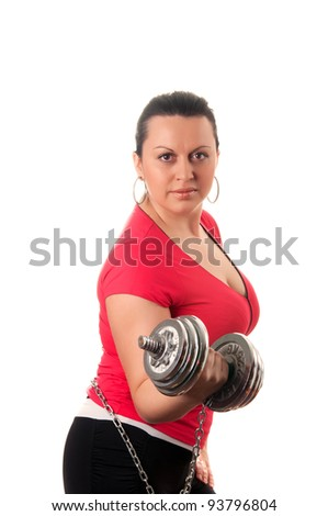 woman with dumbbells isolated on a white background