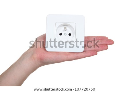 Woman with electrcial plug