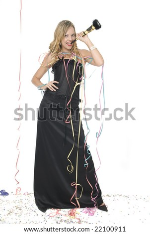 woman with elegant dress laughing at a new year party - stock photo