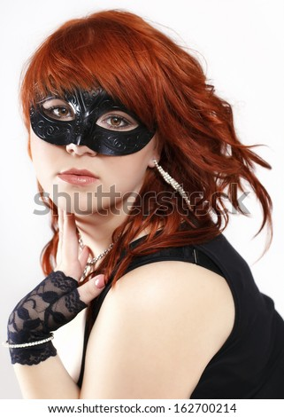 Woman with eye mask