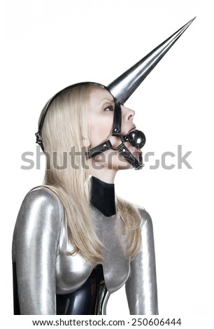 Woman with fetish bdsm gag - stock photo