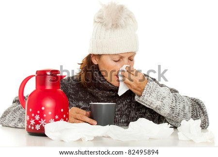 woman with fever - stock photo