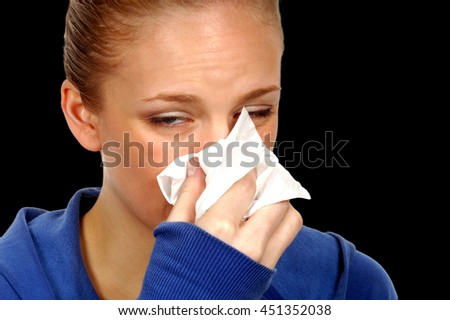 Woman With Flu and hankerchef