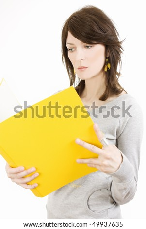 Woman with folder for documents on white background
