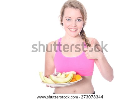 Woman with fruits - stock photo