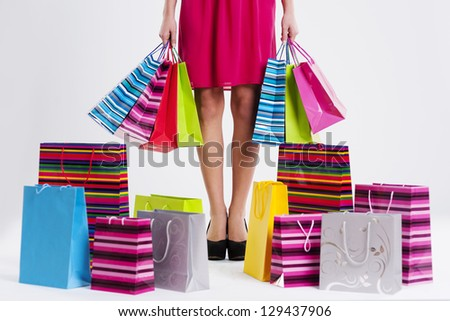 Woman Full Shopping Bags Stock Photo 129437906 - Shutterstock