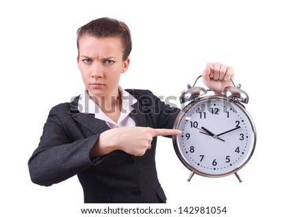 Woman with giant clock on white - stock photo
