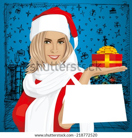 Woman with gift in her hand waiting for Christmas - stock photo