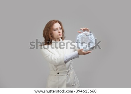 Woman with glowing magical energy ball. - stock photo