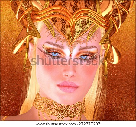 Woman with gold crown, necklace, eye makeup and matching abstract gold background.  This fantasy, digital art scene depicts the spirit of the golden ram and man's lust for gold as a seductive woman.
