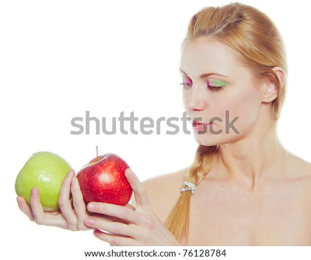 woman with green and red apple isolated on white - stock photo
