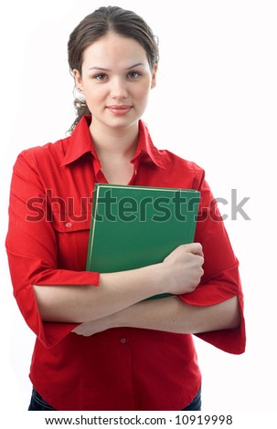 woman with green bookr  on white background
