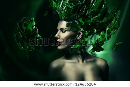 woman with green glass on head - stock photo