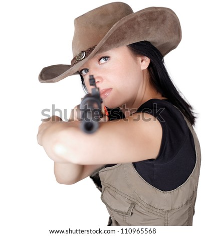 Woman with gun in hand isolated white background - stock photo