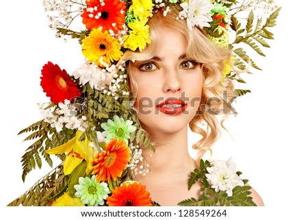 Woman with hairstyle and flower. Isolated.