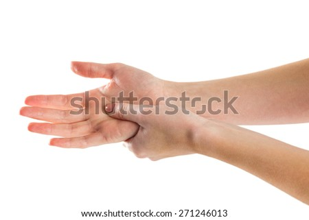 Woman with hand injury on white background