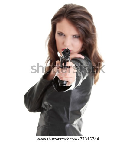 Woman With Handgun isolated on white background - stock photo