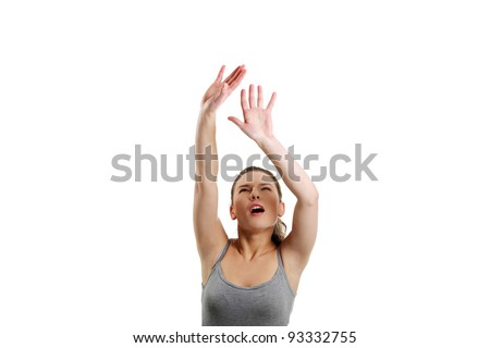 Woman with hands up - stock photo