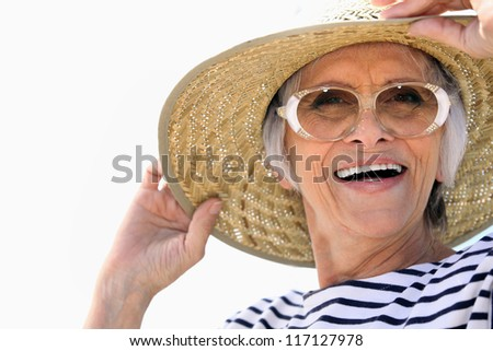 Woman with Hat - stock photo
