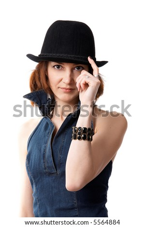 woman with hat isolated on the black background