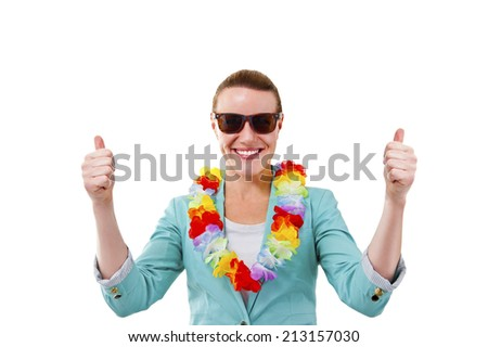 woman with hawaii flowers and sunglasses smiling - stock photo