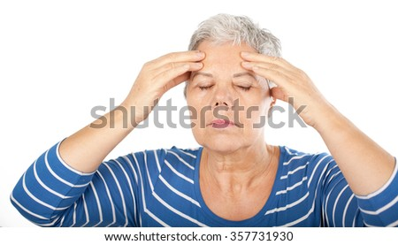 woman with headache, migraine, stress, insomnia, hangover - stock photo