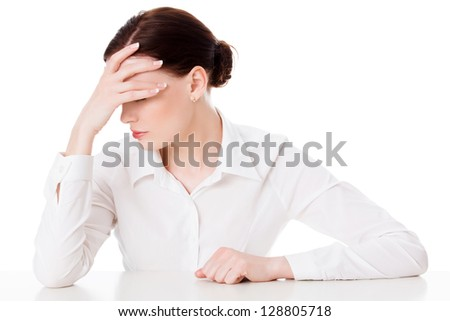 woman with headache, white background - stock photo