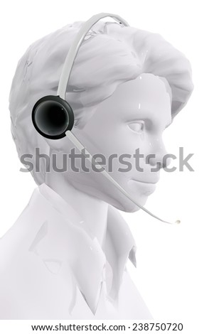 Woman with headphones.  Customer service concept - stock photo