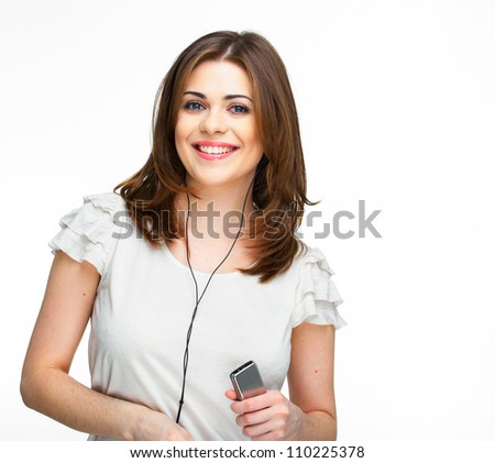 Woman with headphones listening  music on mp3 player. Music teenager girl dan?ing against isolated white background - stock photo
