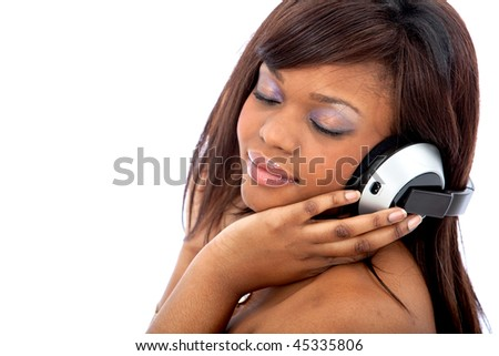 Woman with headphones listening to music isolated over a white background