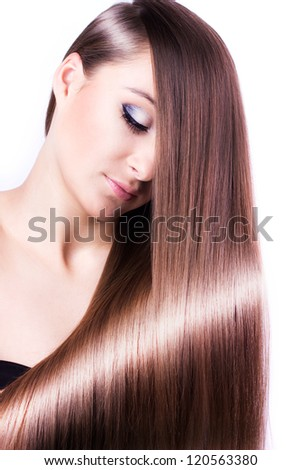 woman with healthy long hair isolated on white background - stock photo