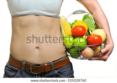 woman with healthy sporty figure ( middle aged , 51 years) - stock photo