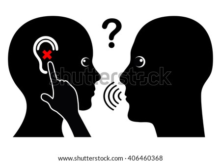 Woman with Hearing Loss. Communication problem with hearing impaired person