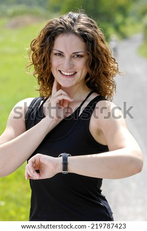Woman with heart rate monitor